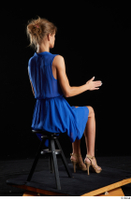 Sarah Kay  1 blue dress brown high heels casual dressed sitting whole body 0012.jpg