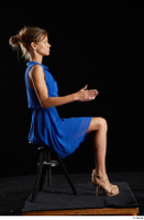Sarah Kay  1 blue dress brown high heels casual dressed sitting whole body 0013.jpg