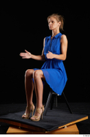 Sarah Kay  1 blue dress brown high heels casual dressed sitting whole body 0016.jpg