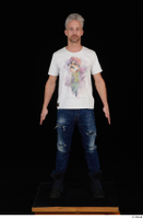 Lutro blue jeans casual dressed standing white t shirt whole body 0001.jpg