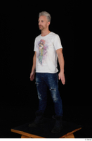 Lutro blue jeans casual dressed standing white t shirt whole body 0002.jpg