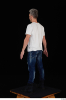Lutro blue jeans casual dressed standing white t shirt whole body 0004.jpg