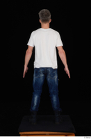 Lutro blue jeans casual dressed standing white t shirt whole body 0005.jpg