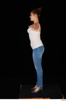 Serina Gomez blue jeans casual dressed grey high heels standing t poses white top whole body 0003.jpg
