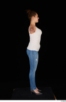 Serina Gomez blue jeans casual dressed grey high heels standing t poses white top whole body 0007.jpg