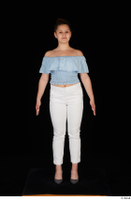 Serina Gomez blue carmen shirt casual grey high heels standing white trousers whole body 0001.jpg