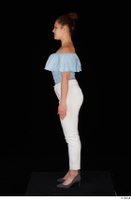 Serina Gomez blue carmen shirt casual grey high heels standing white trousers whole body 0003.jpg