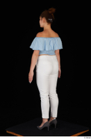 Serina Gomez blue carmen shirt casual grey high heels standing white trousers whole body 0004.jpg