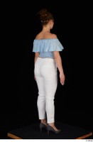 Serina Gomez blue carmen shirt casual grey high heels standing white trousers whole body 0006.jpg