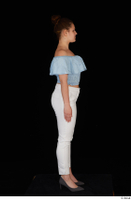Serina Gomez blue carmen shirt casual grey high heels standing white trousers whole body 0007.jpg