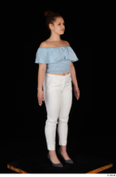Serina Gomez blue carmen shirt casual grey high heels standing white trousers whole body 0008.jpg