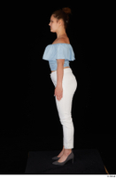 Serina Gomez blue carmen shirt casual grey high heels standing white trousers whole body 0011.jpg