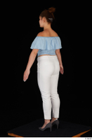 Serina Gomez blue carmen shirt casual grey high heels standing white trousers whole body 0012.jpg