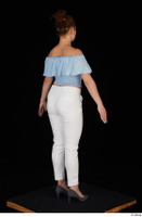 Serina Gomez blue carmen shirt casual grey high heels standing white trousers whole body 0014.jpg