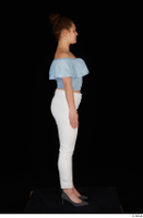 Serina Gomez blue carmen shirt casual grey high heels standing white trousers whole body 0015.jpg