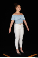 Serina Gomez blue carmen shirt casual grey high heels standing white trousers whole body 0016.jpg