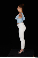 Serina Gomez blue carmen shirt casual grey high heels standing t poses white trousers whole body 0003.jpg