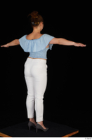 Serina Gomez blue carmen shirt casual grey high heels standing t poses white trousers whole body 0006.jpg