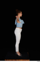 Serina Gomez blue carmen shirt casual grey high heels standing t poses white trousers whole body 0007.jpg