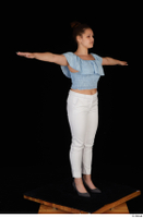 Serina Gomez blue carmen shirt casual grey high heels standing t poses white trousers whole body 0008.jpg