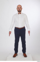 Neeo blue trousers brown oxford shoes business dressed red bow tie standing white shirt whole body 0001.jpg
