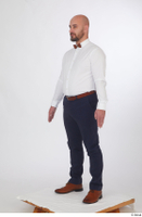 Neeo blue trousers brown oxford shoes business dressed red bow tie standing white shirt whole body 0002.jpg