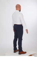 Neeo blue trousers brown oxford shoes business dressed red bow tie standing white shirt whole body 0006.jpg