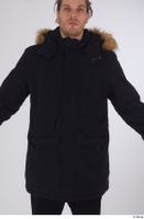 Arvid black coat black parka dressed sports upper body 0001.jpg