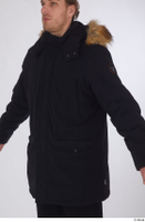 Arvid black coat black parka dressed sports upper body 0002.jpg