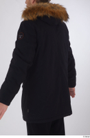 Arvid black coat black parka dressed sports upper body 0004.jpg