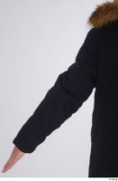 Arvid arm black coat black parka dressed sports upper body 0004.jpg