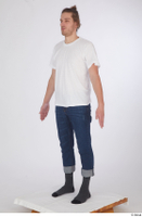 Arvid blue jeans casual dressed socks standing white t shirt whole body 0002.jpg