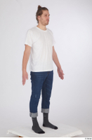 Arvid blue jeans casual dressed socks standing white t shirt whole body 0008.jpg