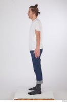 Arvid blue jeans casual dressed socks standing white t shirt whole body 0011.jpg