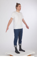 Arvid blue jeans casual dressed socks standing white t shirt whole body 0016.jpg