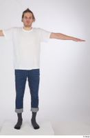 Arvid blue jeans casual dressed socks standing t poses white t shirt whole body 0001.jpg