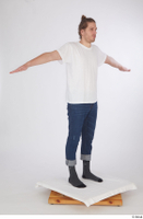 Arvid blue jeans casual dressed socks standing t poses white t shirt whole body 0008.jpg