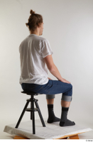Arvid  1 blue jeans casual dressed sitting socks white t shirt whole body 0004.jpg