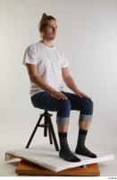 Arvid  1 blue jeans casual dressed sitting socks white t shirt whole body 0006.jpg