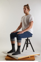 Arvid  1 blue jeans casual dressed sitting socks white t shirt whole body 0008.jpg