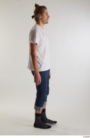 Arvid  1 blue jeans casual dressed side view socks walking white t shirt whole body 0003.jpg