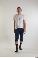 Arvid  1 blue jeans casual dressed front view socks walking white t shirt whole body 0001.jpg