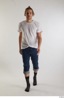 Arvid  1 blue jeans casual dressed front view socks walking white t shirt whole body 0002.jpg