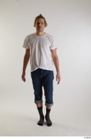 Arvid  1 blue jeans casual dressed front view socks walking white t shirt whole body 0003.jpg