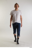Arvid  1 blue jeans casual dressed front view socks walking white t shirt whole body 0004.jpg