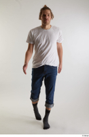 Arvid  1 blue jeans casual dressed front view socks walking white t shirt whole body 0005.jpg