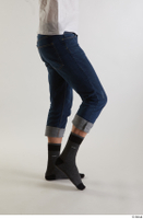 Arvid  1 blue jeans casual dressed leg side view socks 0002.jpg