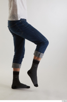 Arvid  1 blue jeans casual dressed leg side view socks 0003.jpg