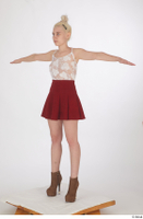 Lilly Bella brown ankle heeled boots casual dressed red short skirt standing t poses white tank top whole body 0002.jpg