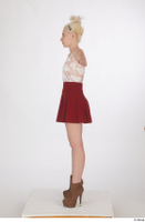 Lilly Bella brown ankle heeled boots casual dressed red short skirt standing t poses white tank top whole body 0003.jpg